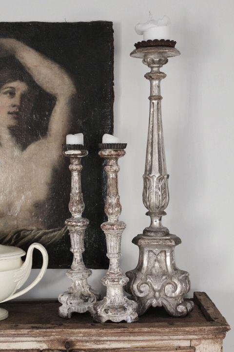Addictedtolifestyle Babette1 Via Pinterest Addicted To Winter Snowfall Lifestyle Vintage Candlesticks Candlesticks Antiqued Candle Holders