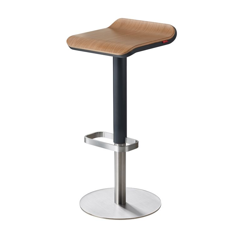 Ed Wooden Bar Stools Adjustable Height Anthracite Oak Mit
