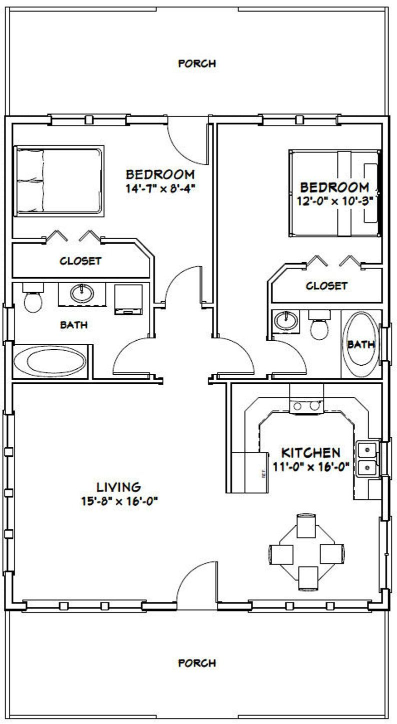 28x36 House 2 Bedroom 2 Bath 1 008 Sq Ft Pdf Floor Plan Instant Download Model 1a Small House Floor Plans Tiny House Floor Plans House Plans