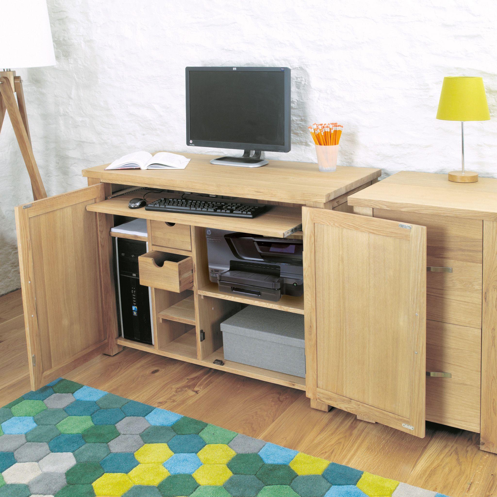solid oak hidden home. Aston Oak Hidden Home Office. Keeps All Your Computer Equipment Hidden  Neatly Away When Not In Use. Solid Oak Home