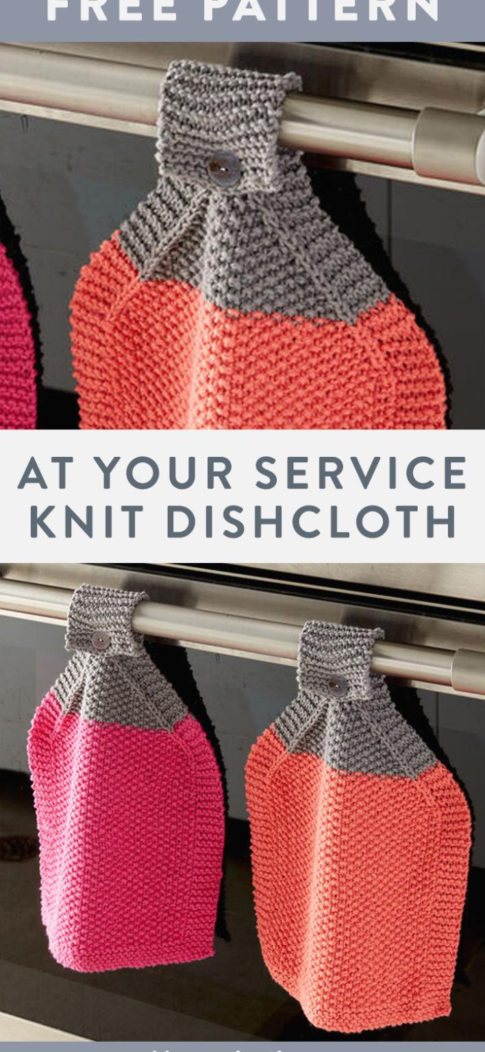 Free At Your Service Knit Dishcloth pattern using Bernat ...