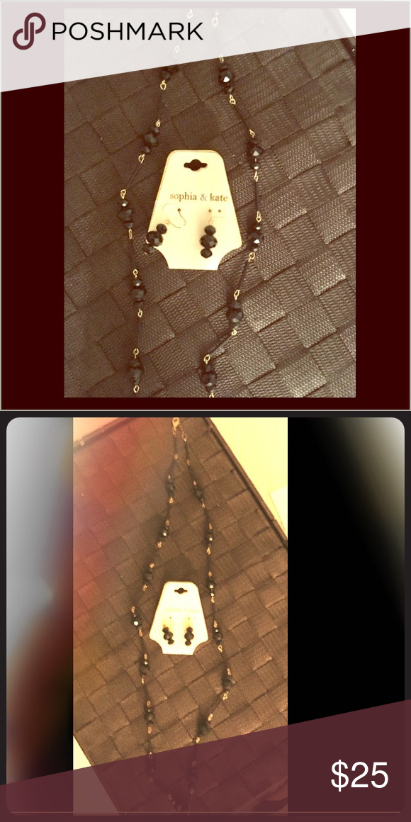 Long black necklace 👗 necklace and earrings set Long black necklace 👗 Necklace and earrings set. Necklace is simple but gorgeous n has a beautiful sparkle in the light. I only wore necklace 1x earings were never worn. Comes as a set NWT earrings n like New necklace. Sophia & Kate necklace Jewelry Earrings