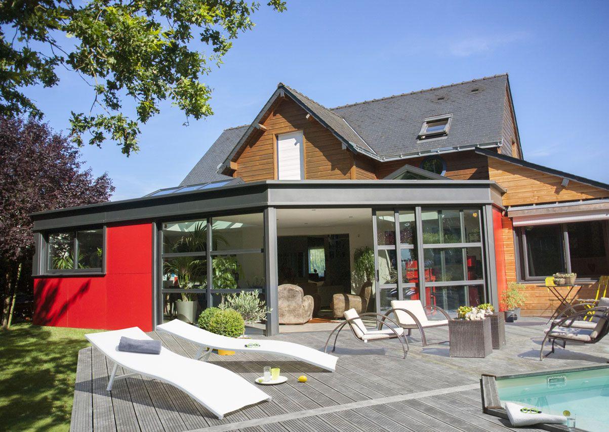 Véranda Concept Alu gamme EXTANXIA - extension façade rouge et vitrage avec traveres | Veranda ...