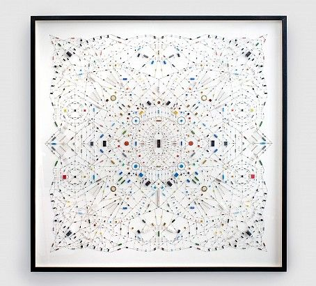 Leonardo Ulian. Technological Mandala 02 (2012), electronic components on paper, 120x120cm.The ideas and concepts behind Leonardo Ulian's work stems from a profound interest in how systems can be applied in the process of making art, how something can survive within a scheme of convention, exploring the system itself in order to understand it, and perhaps, trying to find a condition of artistic autonomy within the framework created.