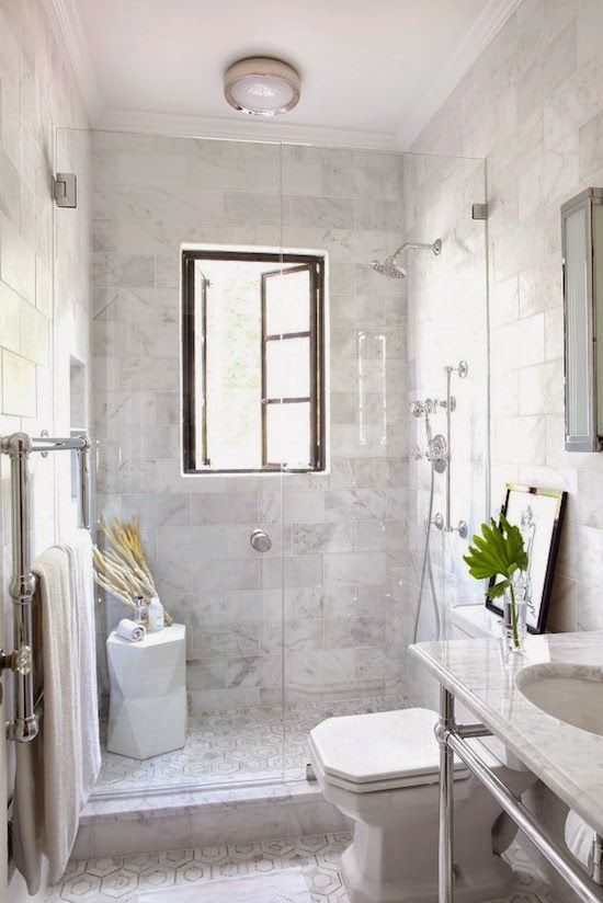 Peeking Into Designer S Homes White Marble Bathrooms Marble Bathroom Designs Window In Shower