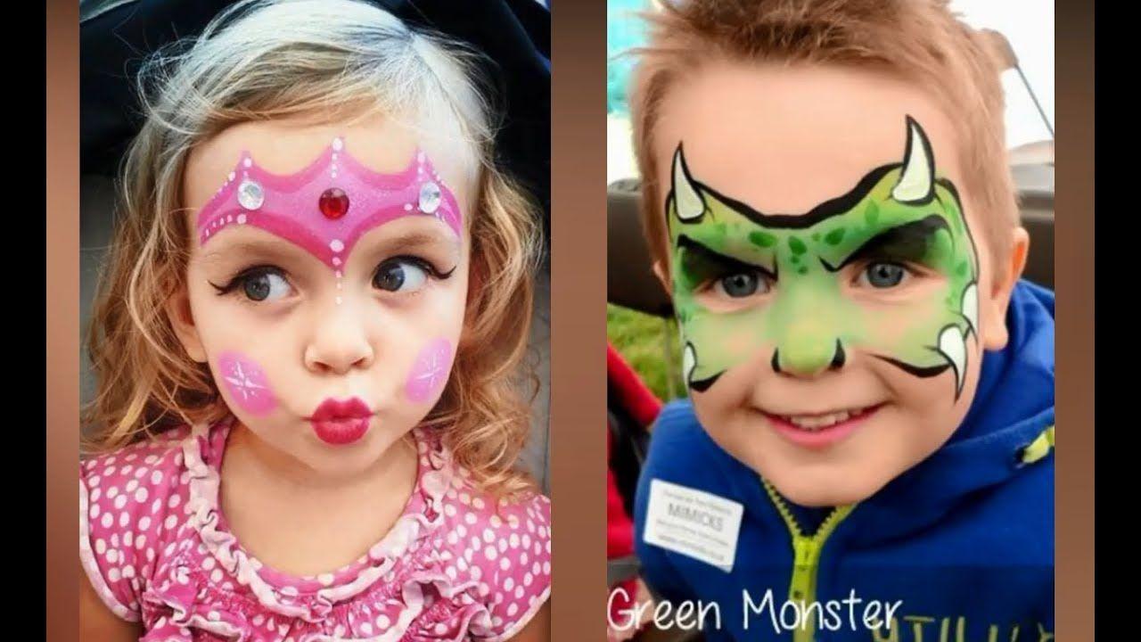افكار سهلة وحلوة للرسم على الوجه للأطفال للحفلات 2019 Easy And Cute Face Painting Ideas For Kids Painting For Kids Face Carnival Face Paint