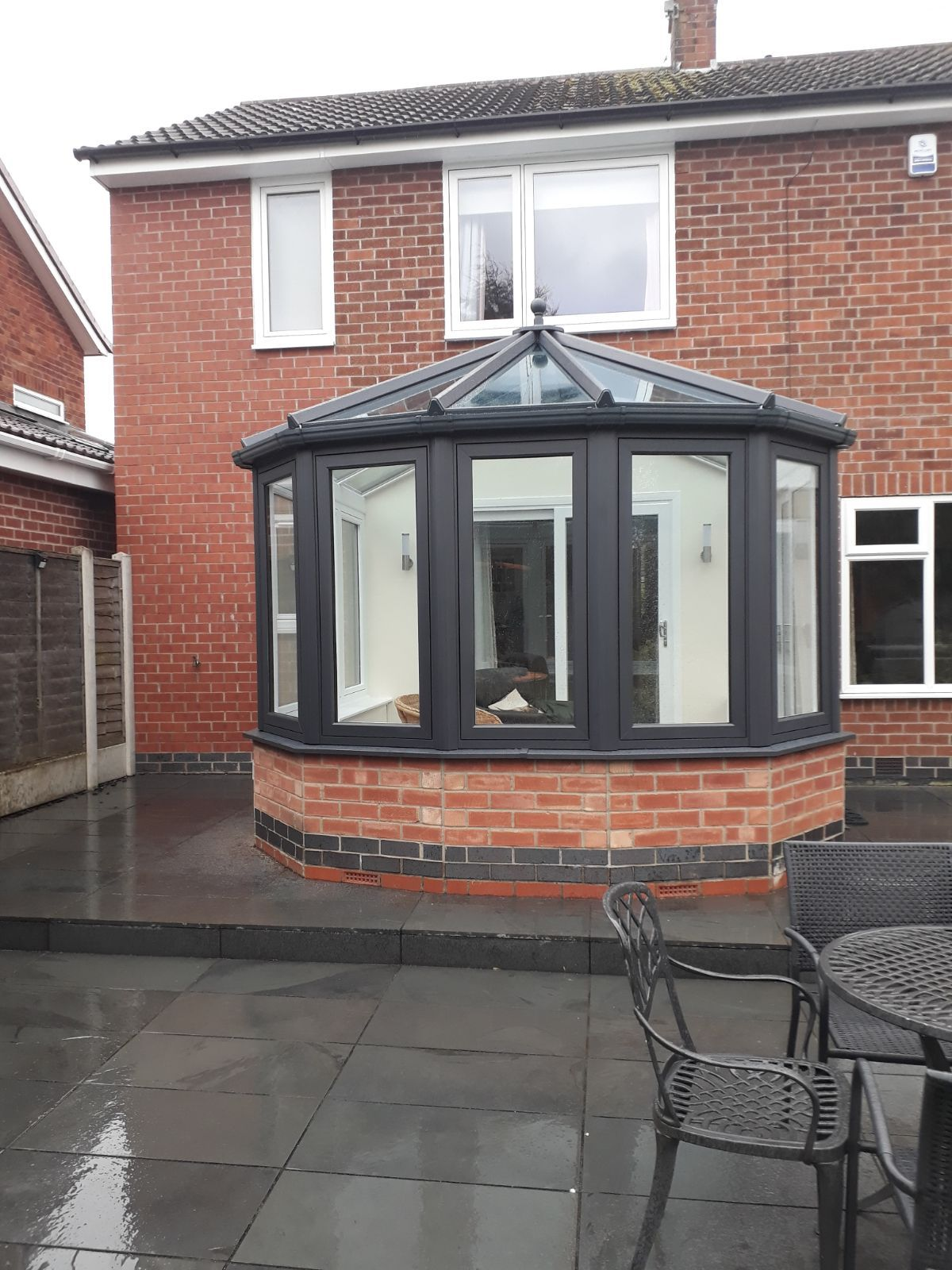 Residence Collection R7 Flush Victorian Conservatory In Eclectic Grey Installed In Toller Victorian Conservatory Replacement Conservatory Roof House Exterior