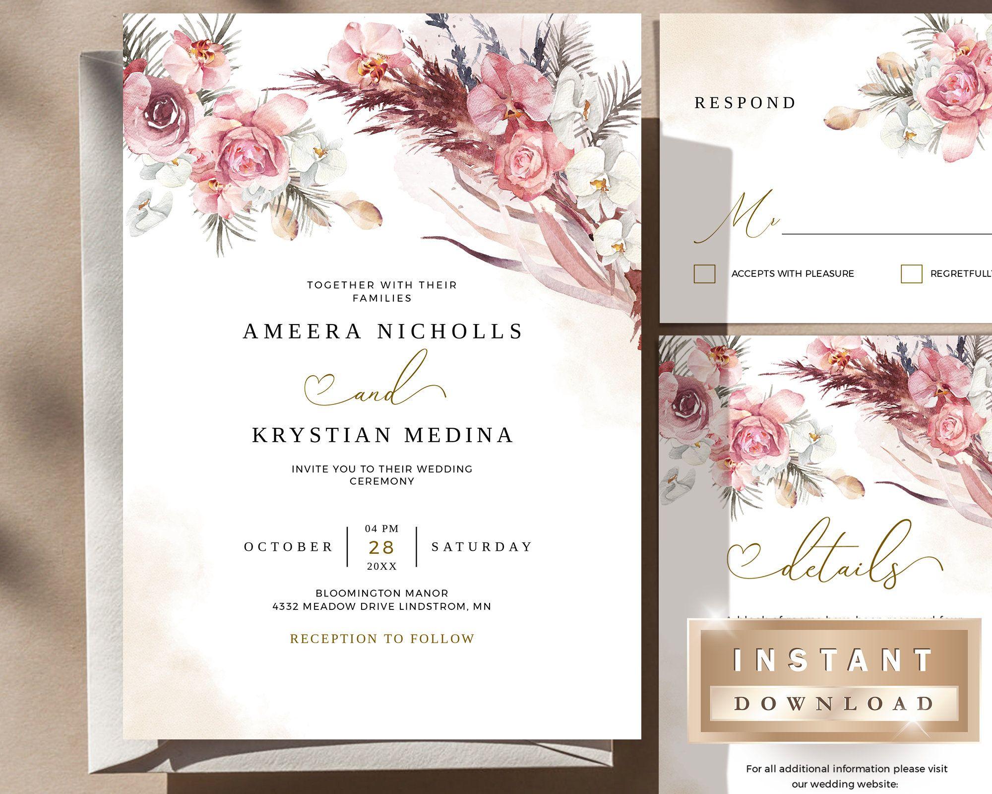 Wedding Bundle Template Instant Download Invitation Blush   Etsy Gallery