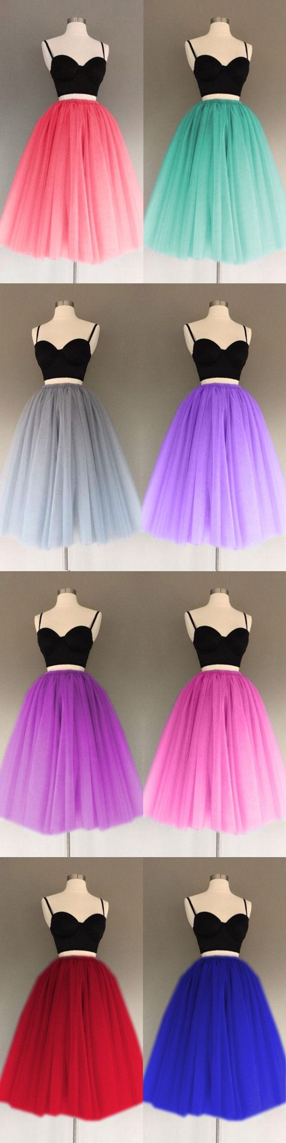 A Line Two Piece Homecoming Dresses Short Tulle Prom Gowns 2
