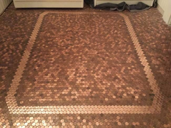 This Guy Made A Floor With Pennies And The Result Is Beautiful Penny Floor Penny Tile Floors Flooring