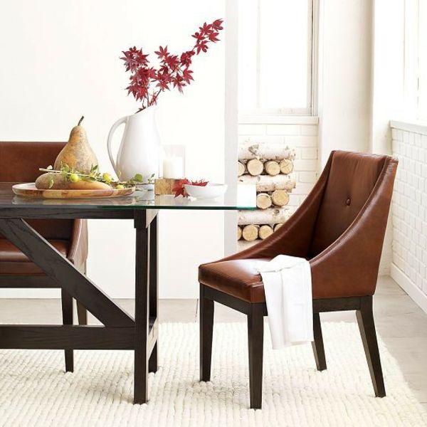 braune esszimmerstühle leder esstisch teppich Möbel - Designer