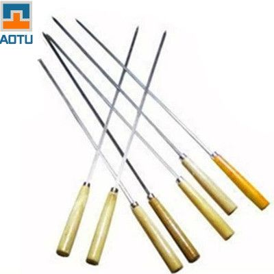 7 Pcs Stainless Steel Barbecue Accessories Needle Skewers with Wooden Handle