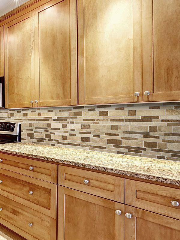 Travertine Subway Mix Backsplash Tile Ivory Beige Brown Maple Kitchen Cabinets Glass Backsplash Kitchen Kitchen Tiles Backsplash