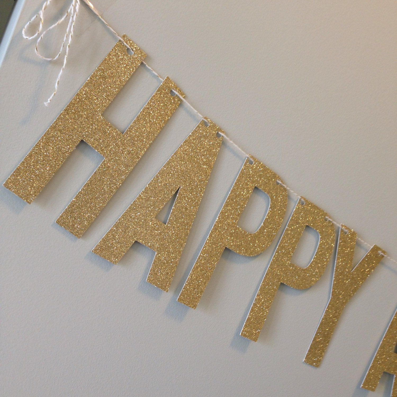 Gold Glitter Happy Anniversary Banner Wedding