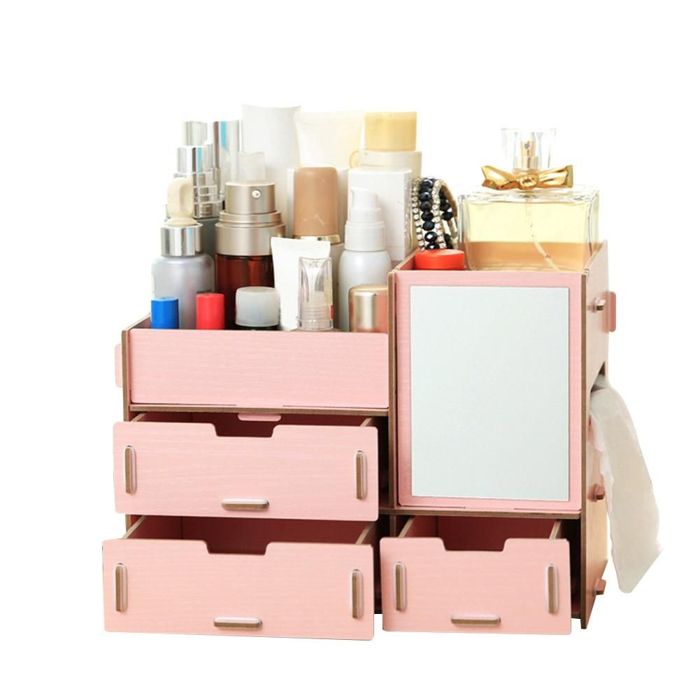 Photo of European Style Solid Wooden Cosmetic Organizer DIY Storage Holder Home Decor – L / Pink
