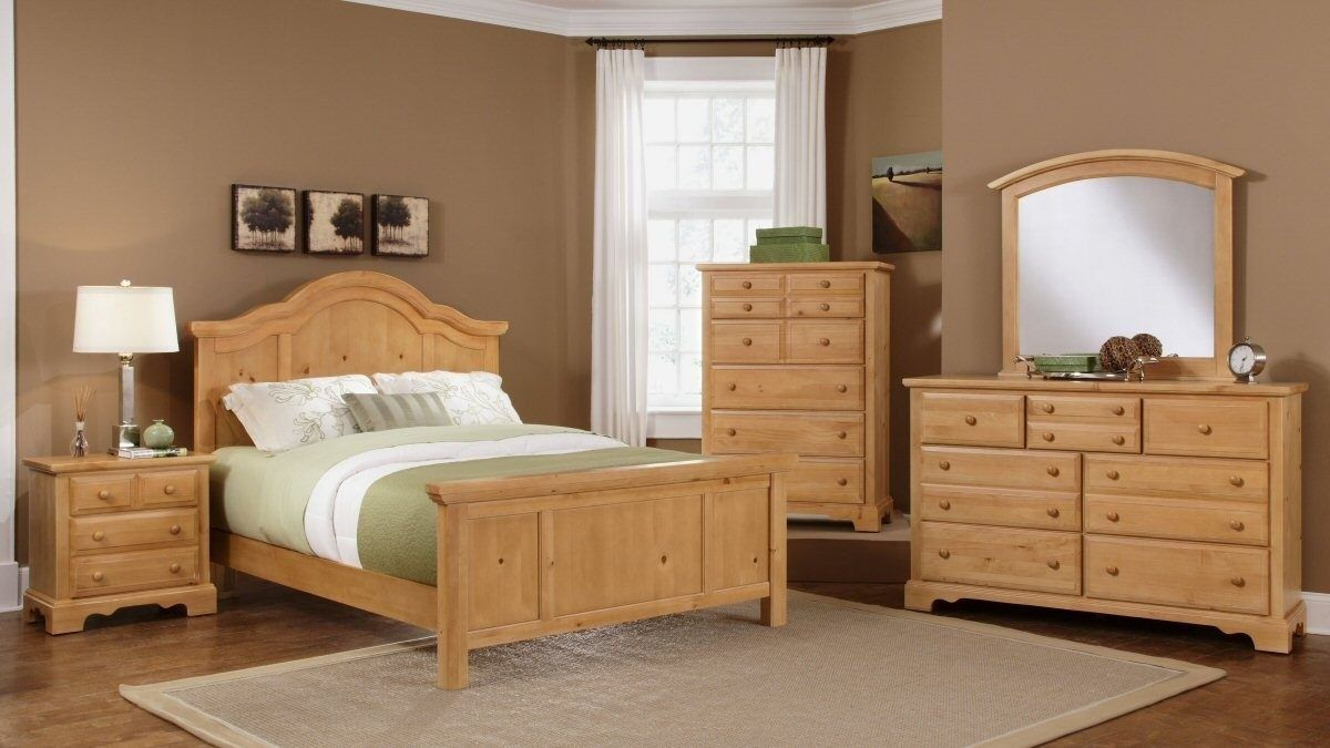 french pine bedroom furniture with brown painted wall white lamp