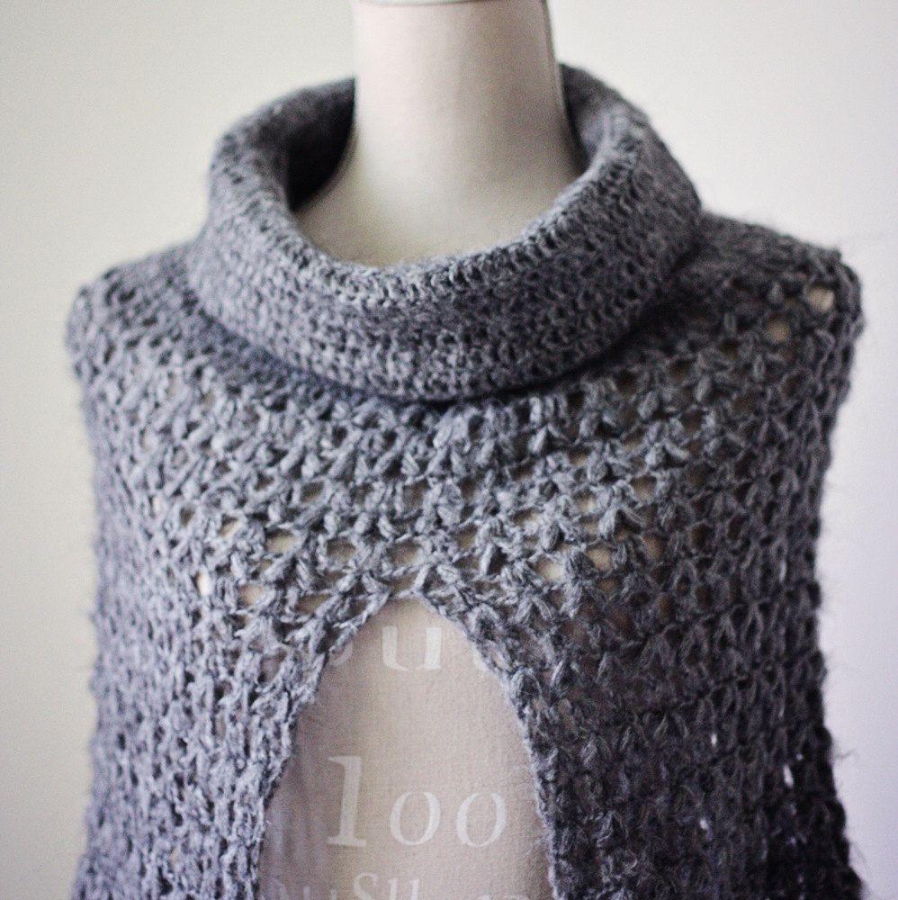 Crochet PATTERN pdf file Ladies Cowl Poncho by monpetitviolon ...