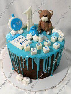 Торт без мастики для мальчика на 1 годик (с изображениями ...