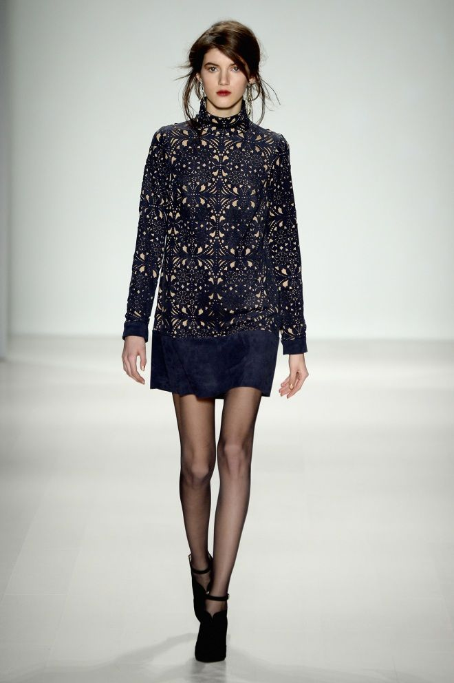 Long-sleeve minis with high collars are the latest trend: very 1960s, very Alexa Chung #runwayfashion