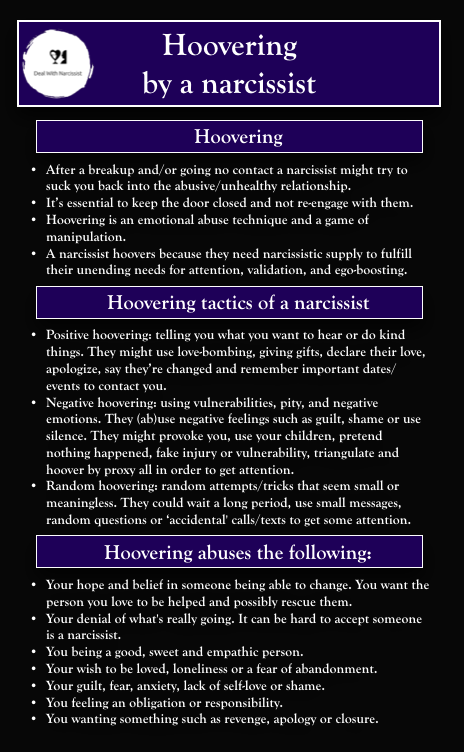 Hoovering by a narcissist. Read my article about h
