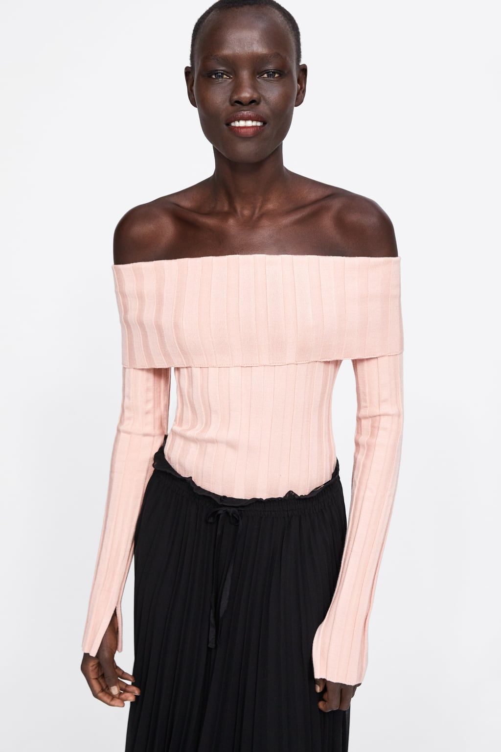 4a2d15d5 Image 2 of RIBBED SWEATER WITH CUFFED NECKLINE from Zara Ribbed Sweater,  Off Shoulder Blouse