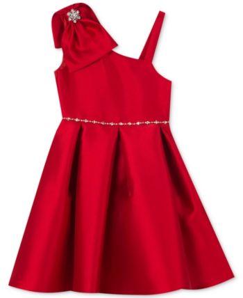5a502c76c2 Rare Editions Big Girls Mikado Asymmetrical Bow Dress - Red 10