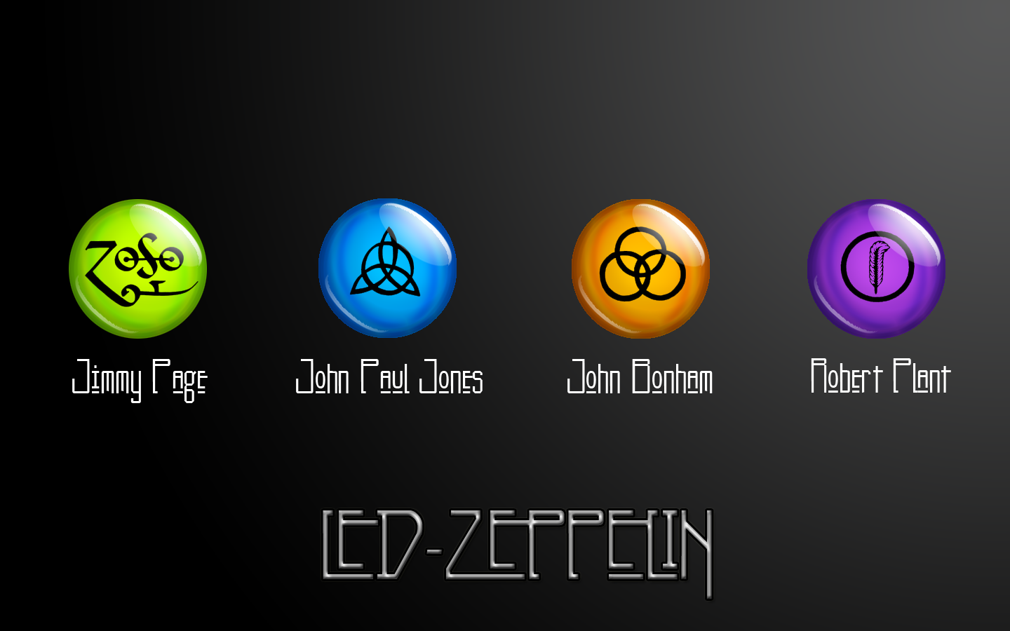 Led Zeppelin Band Members Personally Chosen Symbols From Left To