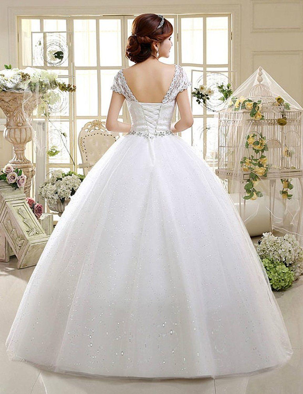 017356a05b49 Amazon.com: Eyekepper Double Shoulder Floor Length Bridal Gown Wedding  Dress Custom Size: Clothing