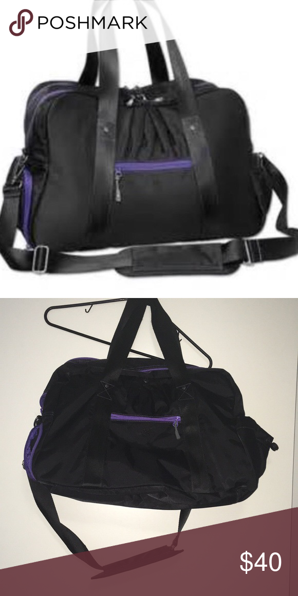 454dc774c Athleta Warm Up Gym Yoga Duffel Bag Black Purple Athleta Warm Up Gym Bag Bag  Hole on the inner lining of the side pocket Black with Purple Measurements  are: ...