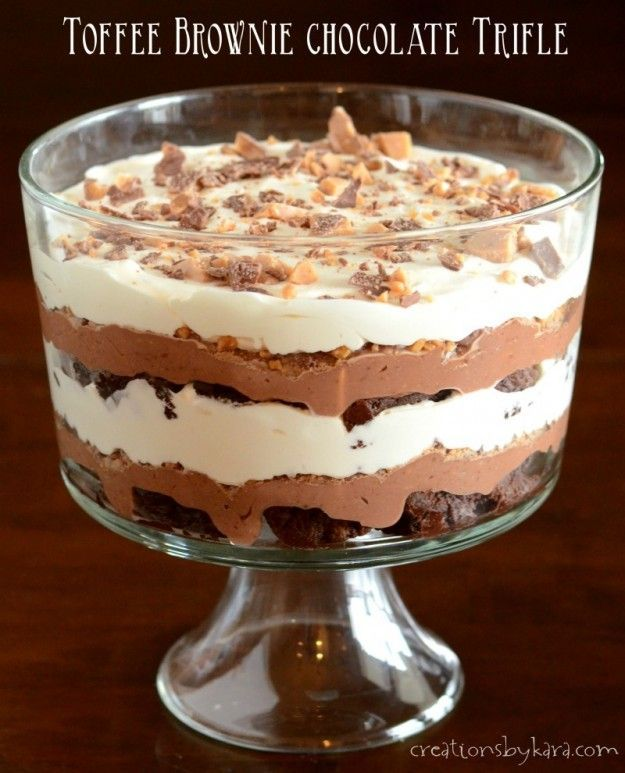 layers of brownie, pudding, toffee, and whipped cream, this Toffee Brownie Chocolate Trifle will knock your socks off!