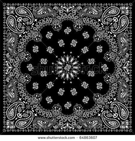 Bandana Black Black Bandana With White Ornaments No Transparency