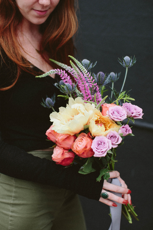 Seasonal Bouquet Peach peonies, Flower delivery, Garden