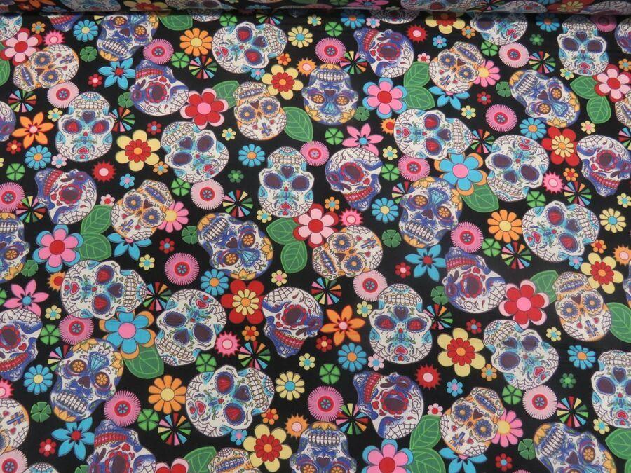 100 cotton poplin fabric rose hubble sugar skulls day of