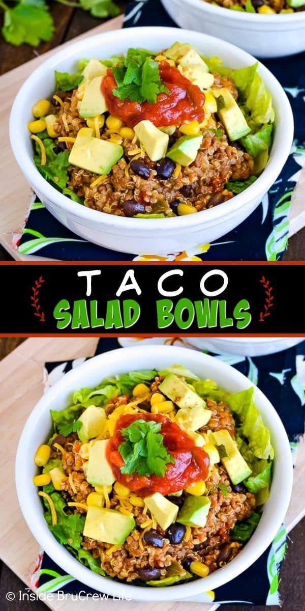 Beef Taco Quinoa Salad Bowls