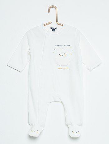 e32eb13b5b4b5 Pyjama en velours  ours  blanc Bébé garçon - Kiabi