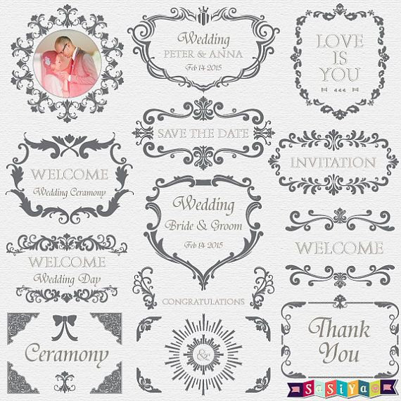 INSTANT DOWNLOAD Ornate Wedding Frame Decorations by SasiyaDesigns, $5.00