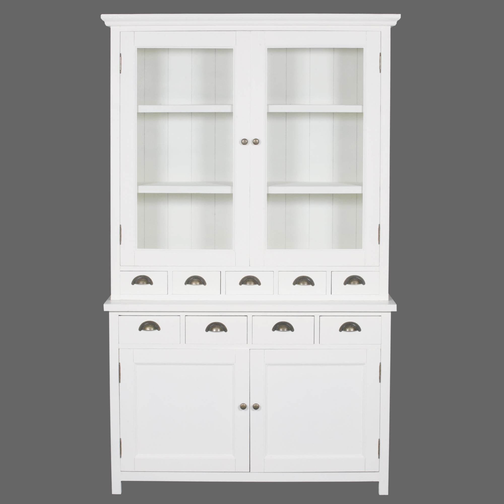 Brook Glass Top Dresser  White Distressed