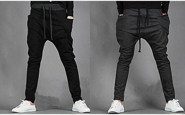 937b68144f006 Calça moletom estilo Saruel masculina com bolsos laterais ...