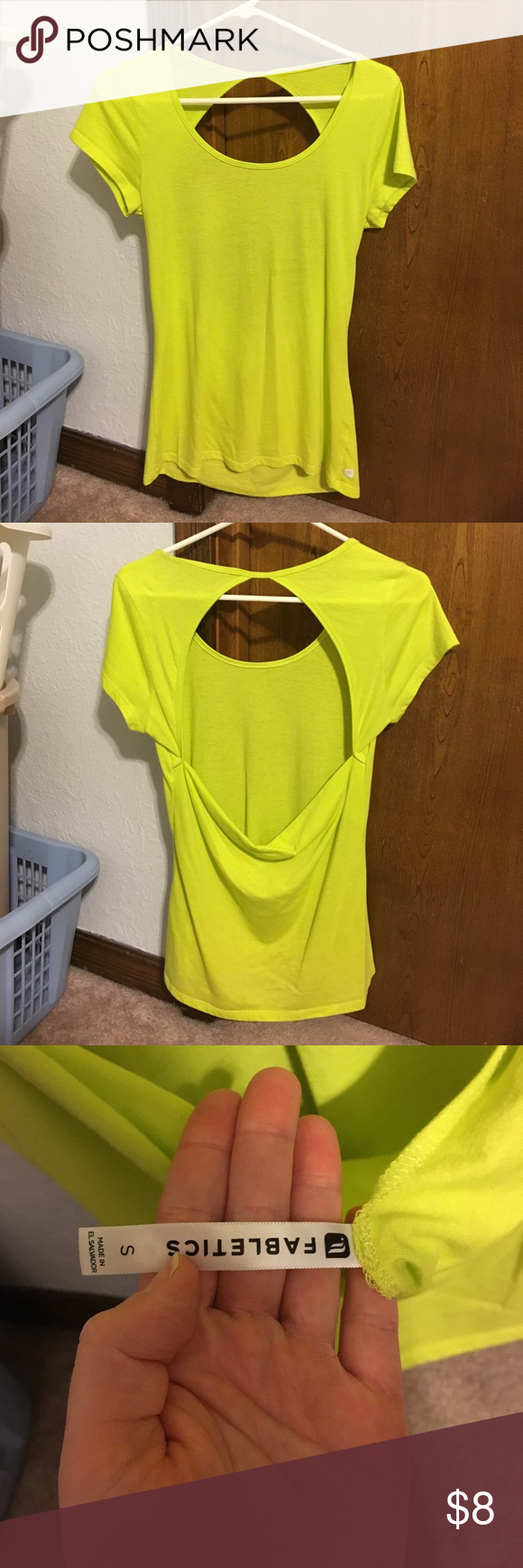 Neon cotton Fabletics tee Worn and washed once. Cute and easy to wear. Open back and the tee itself is nice and long. Fabletics Tops Tees - Short Sleeve