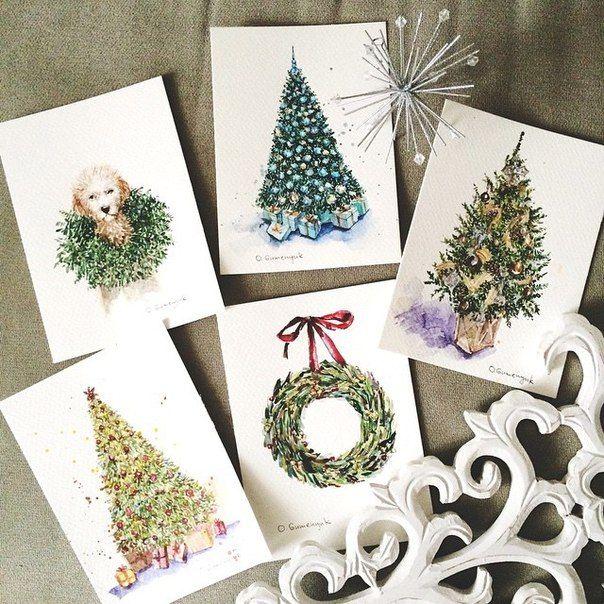 Рисуем новогодние открытки своими руками, картинки