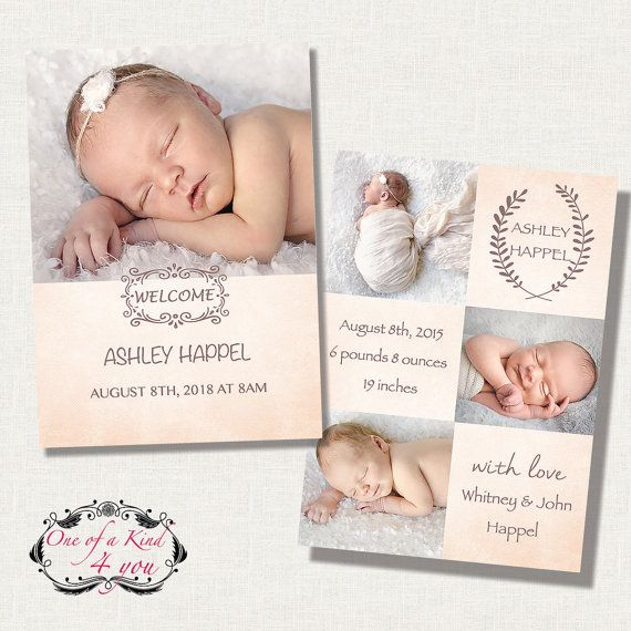 Welcome Free Templates For Photoshop: Digital Photo Birth Announcement Template For