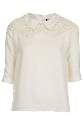 **Bluse Mit Perlenverziertem Kragen Von Sister Jane - Tops  - Bekleidung
