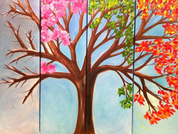 That Which Stays The Same Tetraptych 4 Canvas By Theaquaartist 190 00 Kunstvaerk Malerier Maleri Inspiration