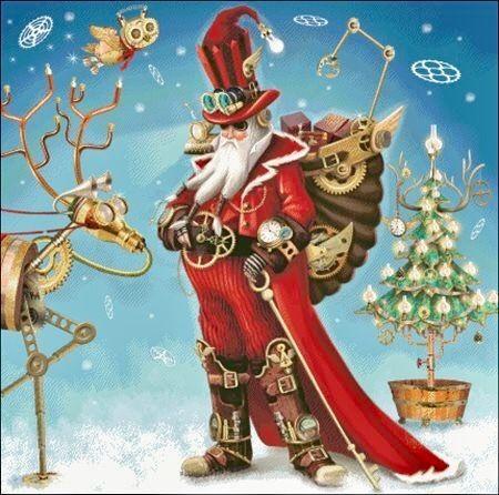 Steampunk no Santa and Robot Reindeer | Steampunk christmas, Christmas art,  Christmas scenes