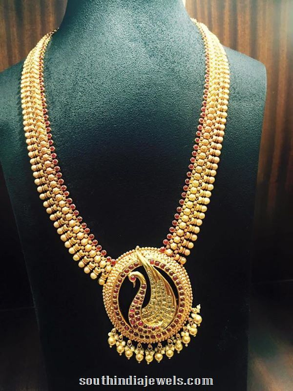 Gold Ruby Peacock Long Necklace Design   Gold, Jewel and Indian ...