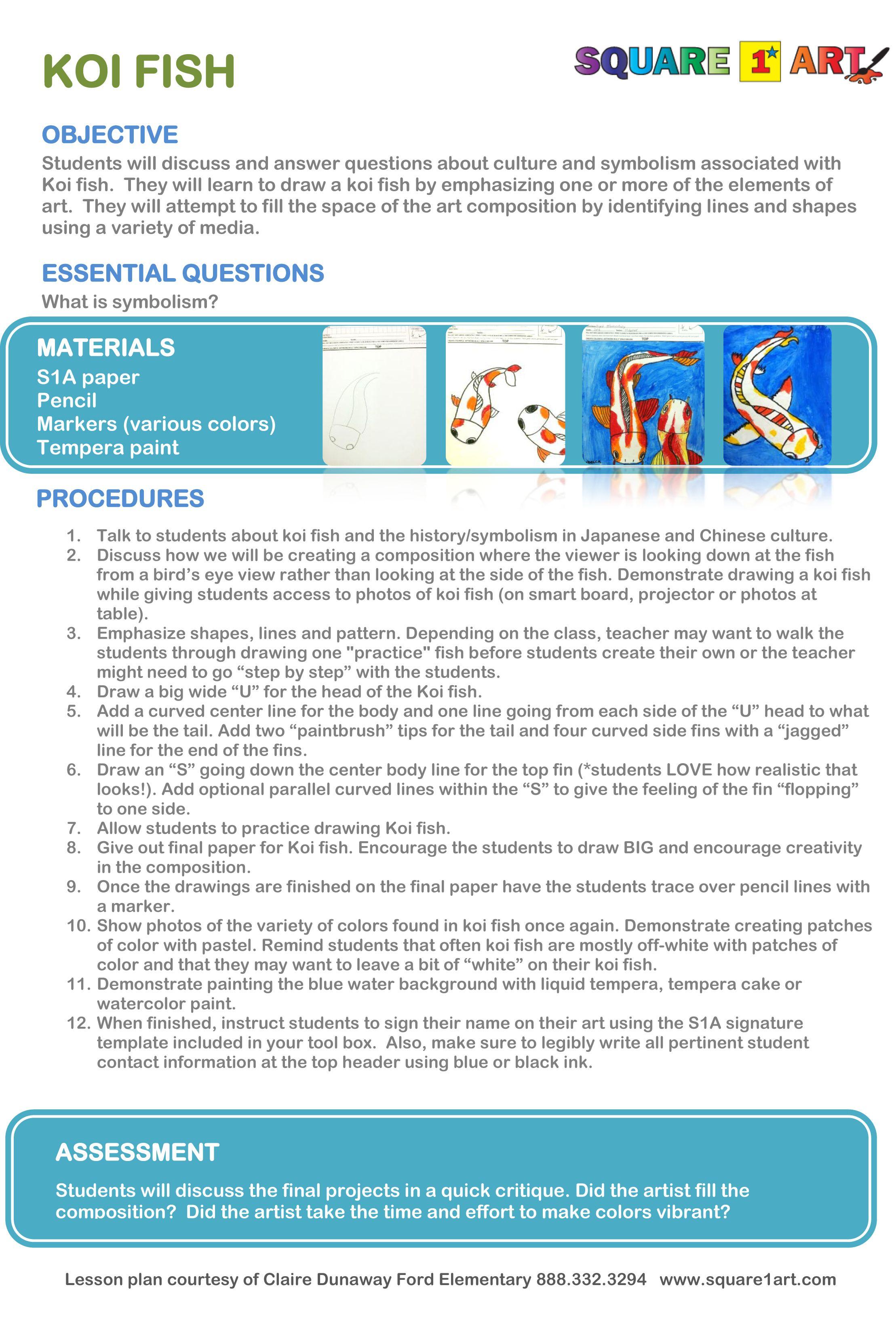 Koi Fish Lesson Plan Square1art In