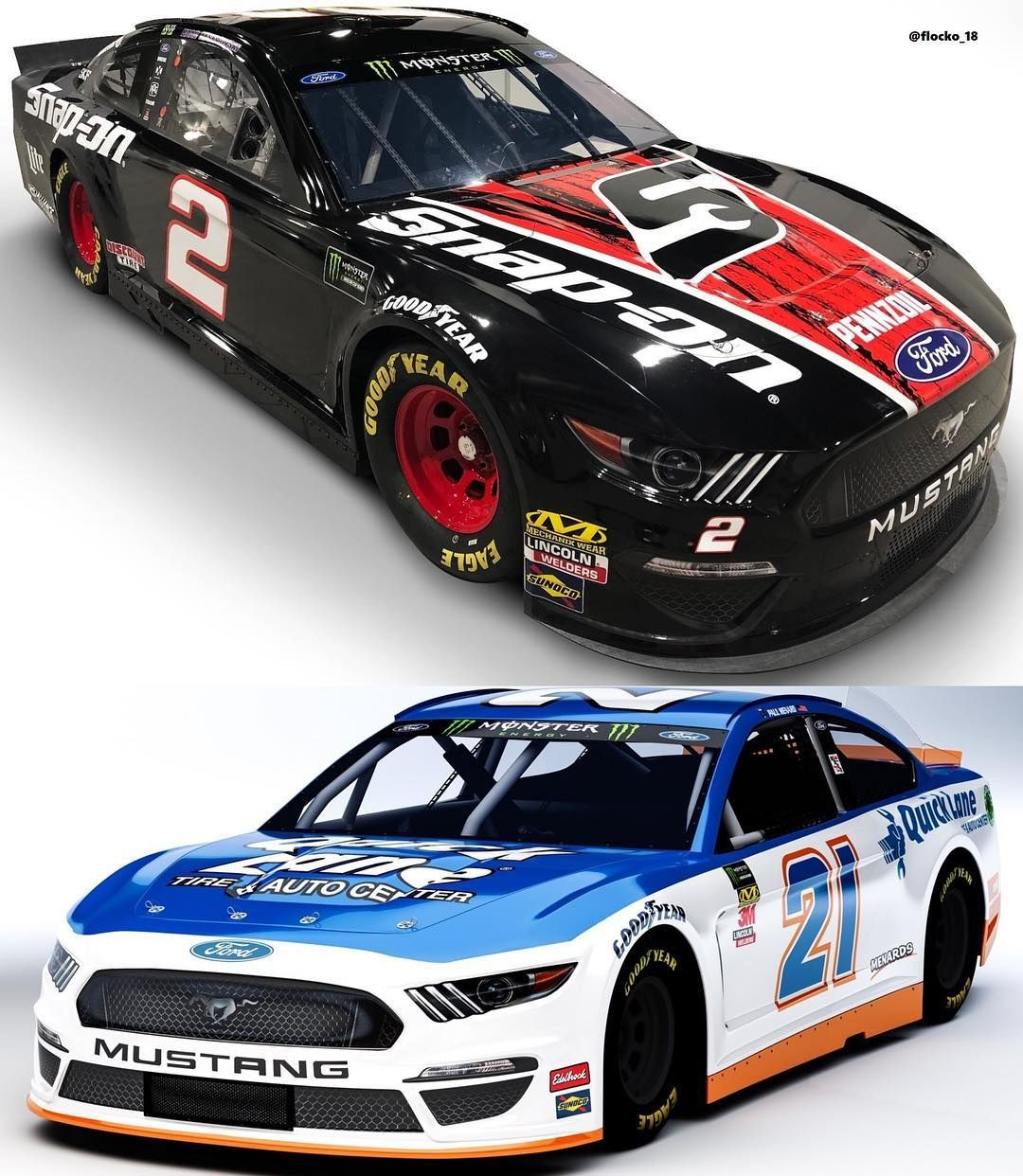 Lewis Flockton On Instagram Here S Brad Keselowski S No 2 Snap On Penske Ford Mustang Scheme And Paul Menards No 21 Quicklane Ford Scheme For Talladega Thi
