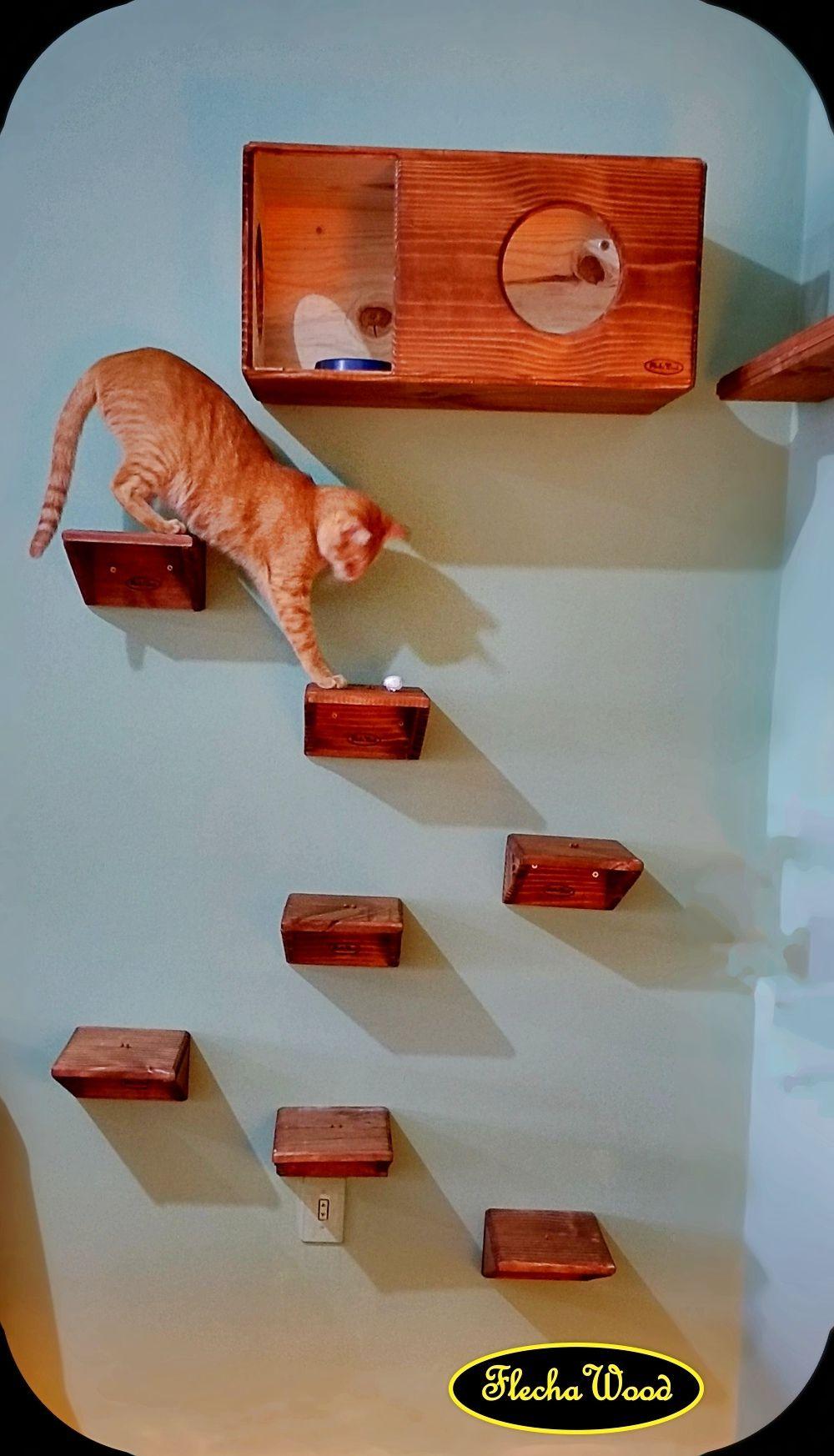 Mini prateleiras (degraus) para Caminhos de Gatos.  www.flechawood.com.br