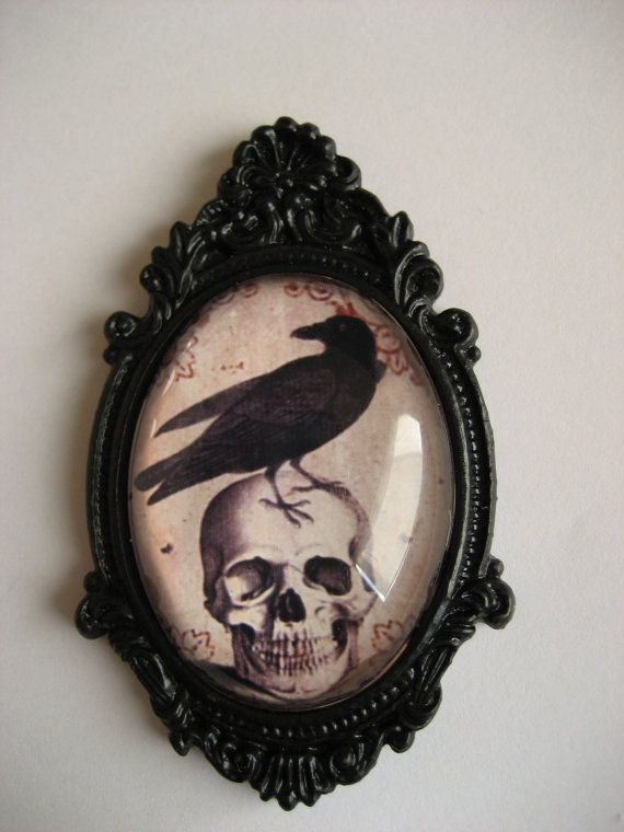 Raven and Skull Victorian Style Necklace by BellaMortaJewelry. , via Etsy.