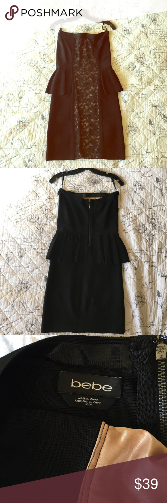 Black strapless cocktail dress with lace detail. Beautiful knee length black dress with ruffle and lace detail. Form fitting and very flattering. bebe Dresses Strapless